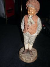 ANTIQUE HANDPAINTED FIGURINE BOY IN ETHNIC LEATHER LOOK OUTFIT 1186 RESTORED